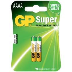 Blister de 2 piles Alcalines SUPER AAAA/LR61