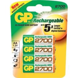 4 piles rechargeables GP ACCUS AA-LR06 2700mAh