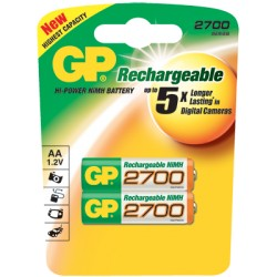 2 piles rechargeables GP ACCUS AA- LR06 2700mAh