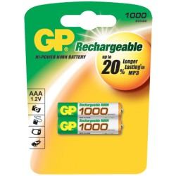 2 piles rechargeables GP ACCUS AAA- LR03 - 1000mAh